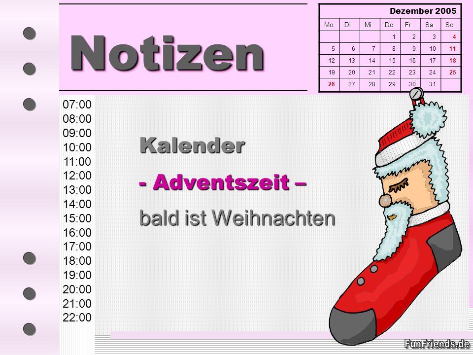 Kalender - Adventszeit – bald ist Weihnachten