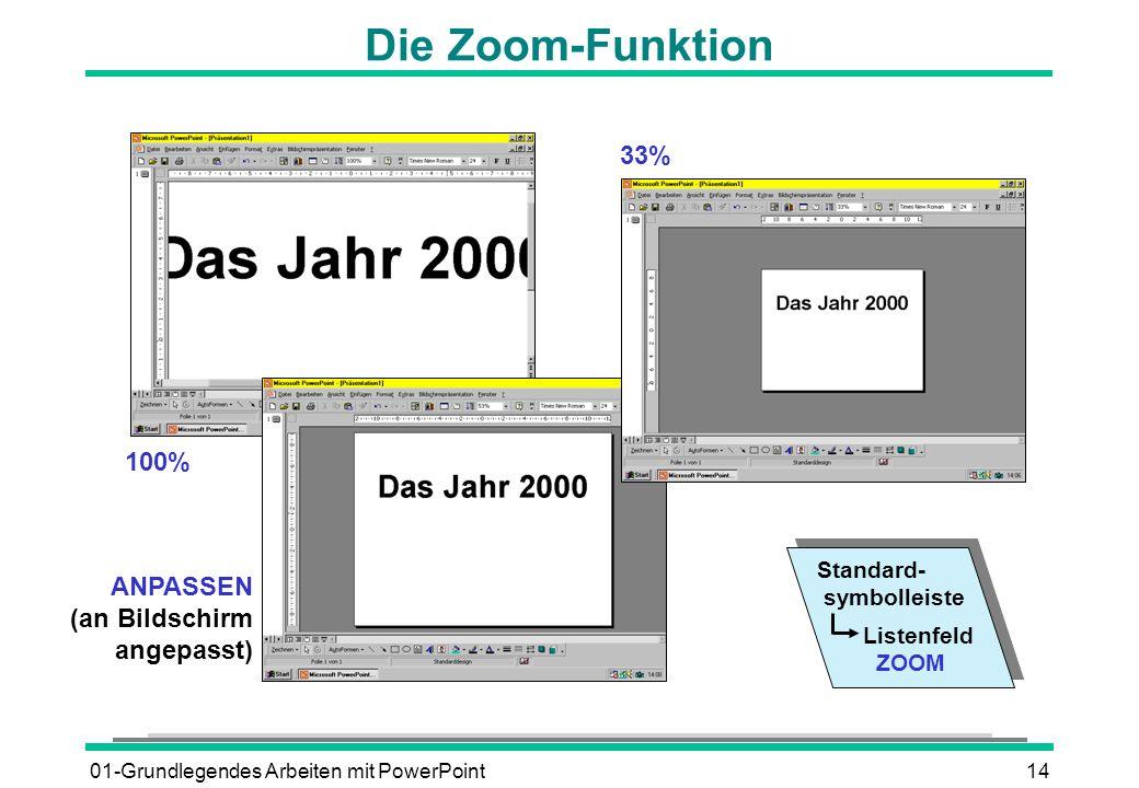 Die Zoom-Funktion 33% 100% ANPASSEN (an Bildschirm angepasst)