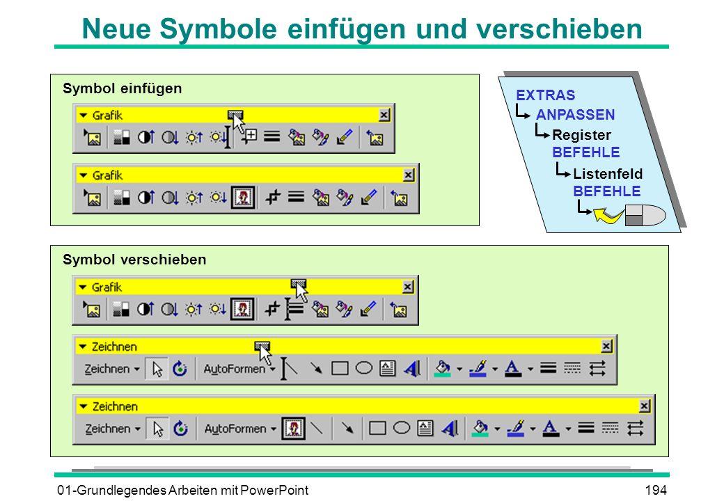 Neue Symbole einfügen und verschieben