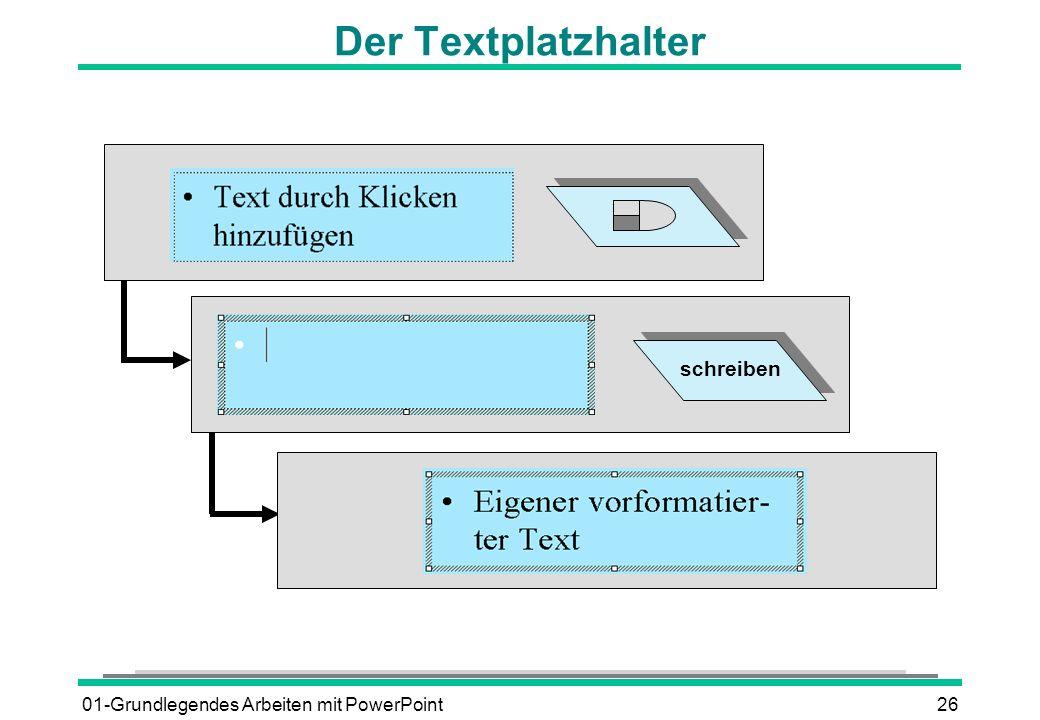 Der Textplatzhalter schreiben 01-Grundlegendes Arbeiten mit PowerPoint