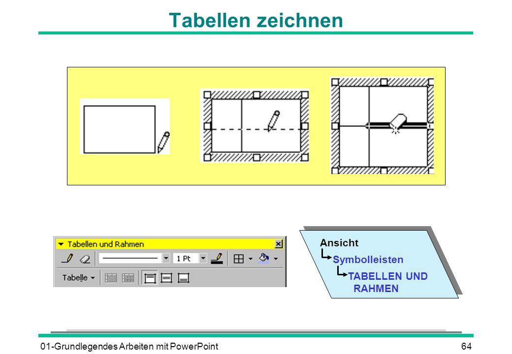 Tabellen zeichnen Ansicht Symbolleisten TABELLEN UND RAHMEN