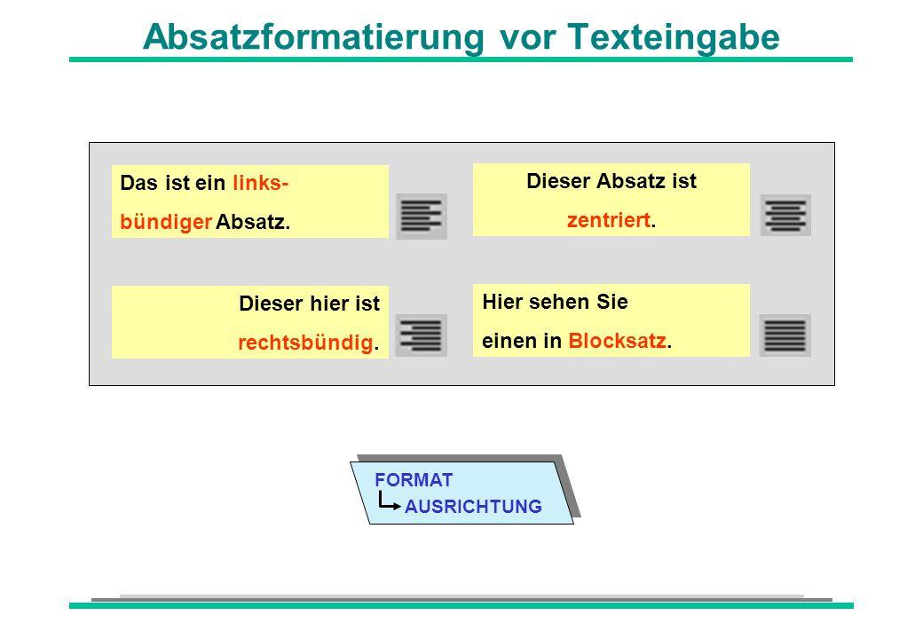 Absatzformatierung vor Texteingabe