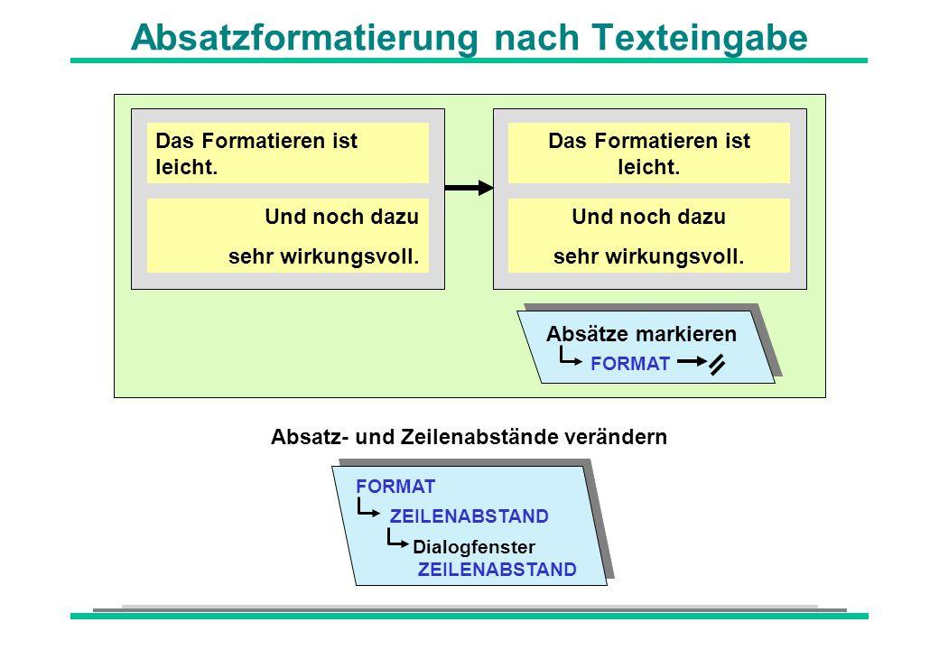 Absatzformatierung nach Texteingabe