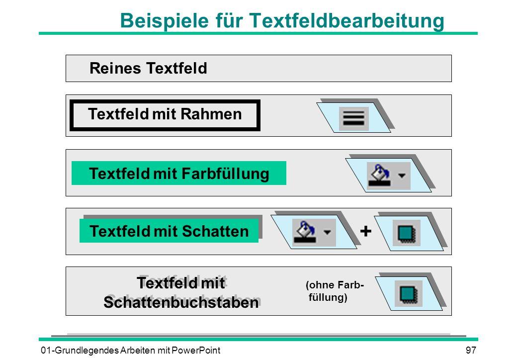 Beispiele für Textfeldbearbeitung
