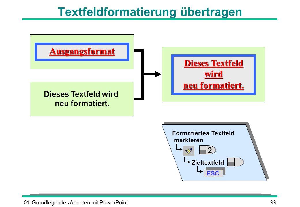 Textfeldformatierung übertragen