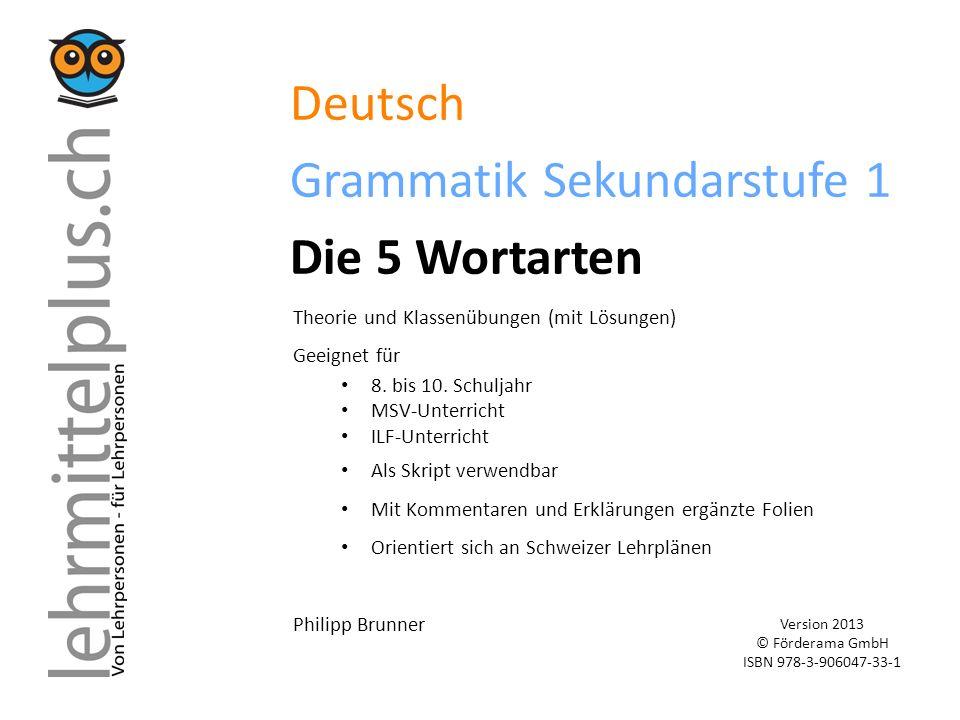 Deutsch Grammatik Sekundarstufe 1 Die 5 Wortarten