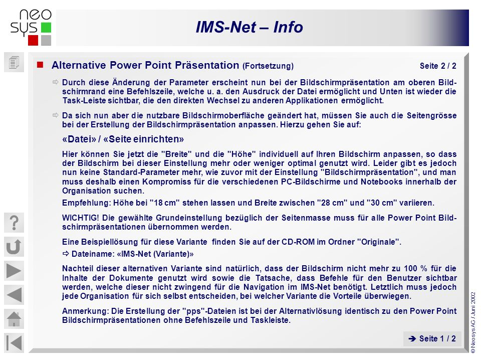 Alternative Power Point Präsentation (Fortsetzung) Seite 2 / 2