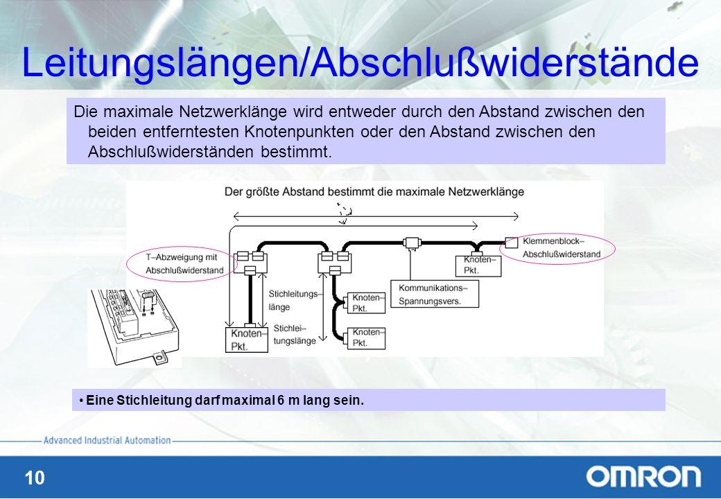 Leitungslängen/Abschlußwiderstände
