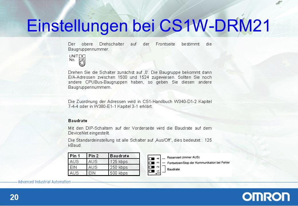 Einstellungen bei CS1W-DRM21