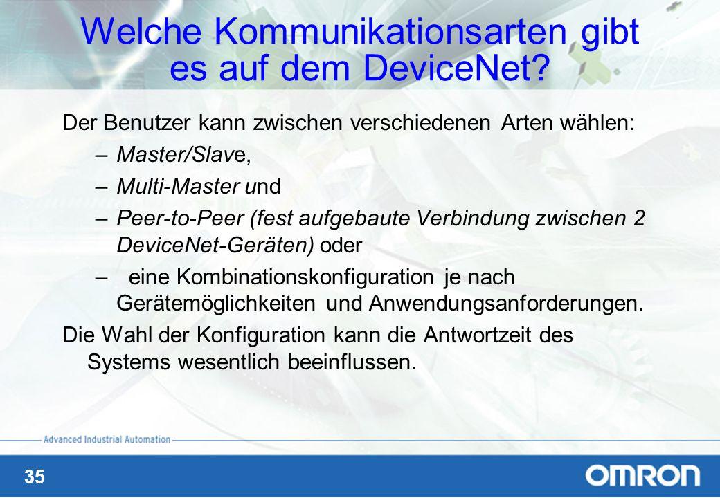 Welche Kommunikationsarten gibt es auf dem DeviceNet