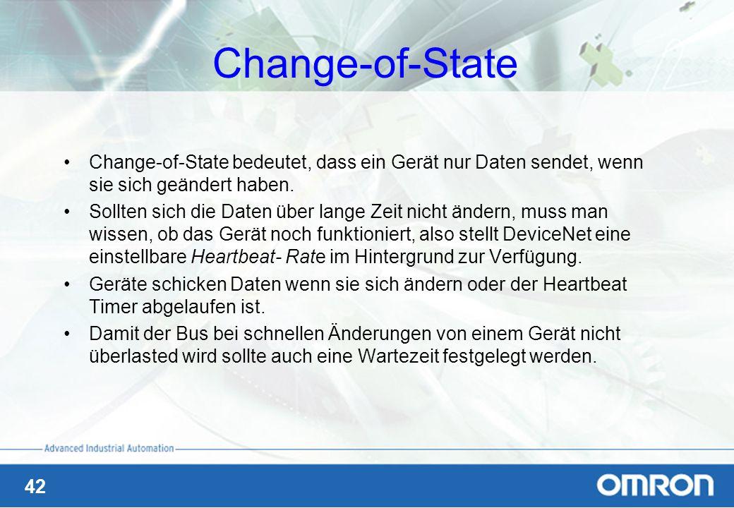 Change-of-State Change-of-State bedeutet, dass ein Gerät nur Daten sendet, wenn sie sich geändert haben.