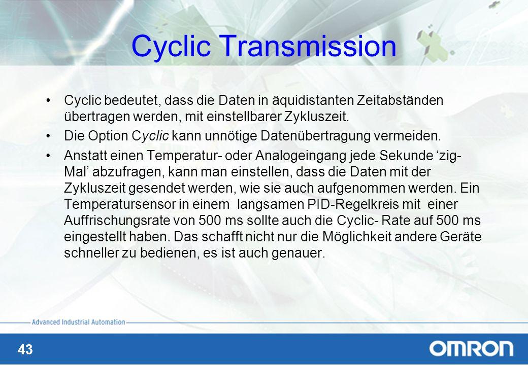 Cyclic Transmission Cyclic bedeutet, dass die Daten in äquidistanten Zeitabständen übertragen werden, mit einstellbarer Zykluszeit.