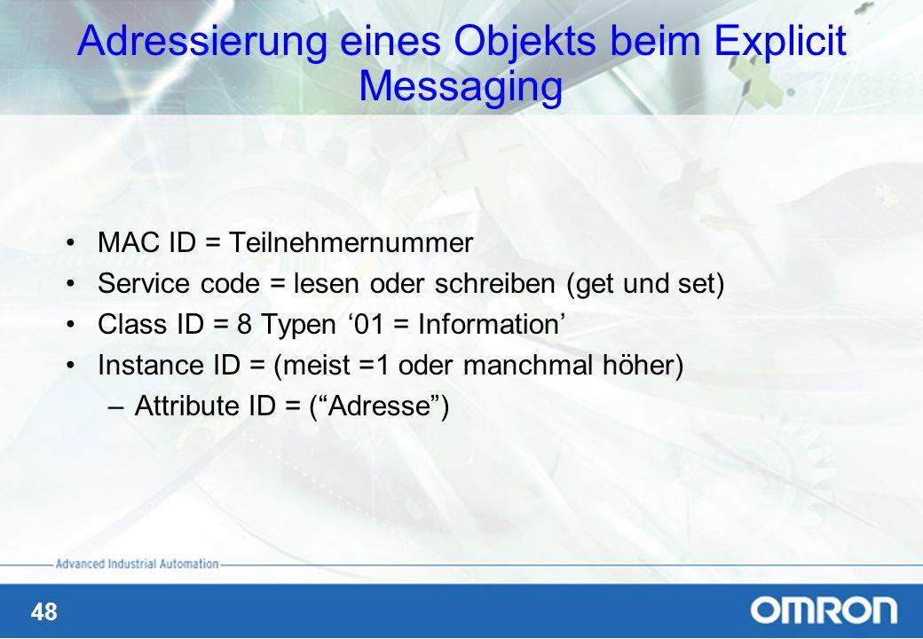 Adressierung eines Objekts beim Explicit Messaging