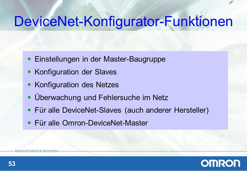 DeviceNet-Konfigurator-Funktionen
