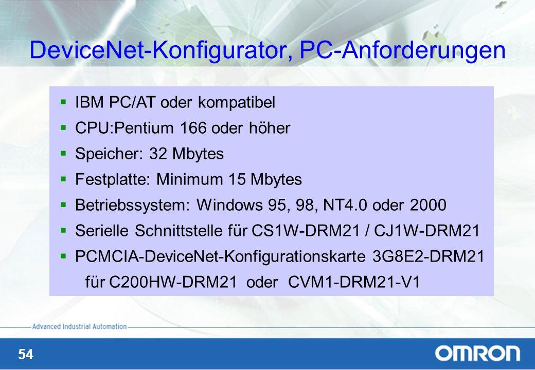 DeviceNet-Konfigurator, PC-Anforderungen