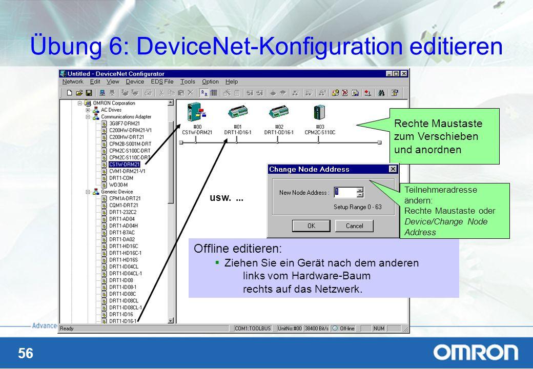 Übung 6: DeviceNet-Konfiguration editieren