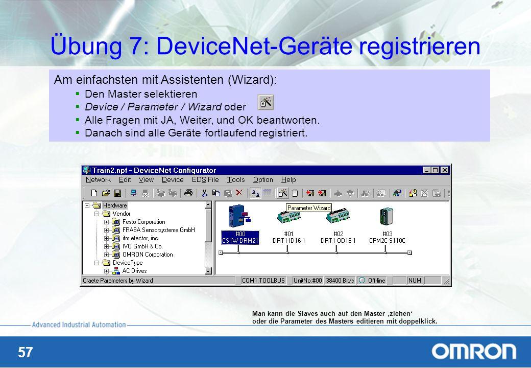 Übung 7: DeviceNet-Geräte registrieren
