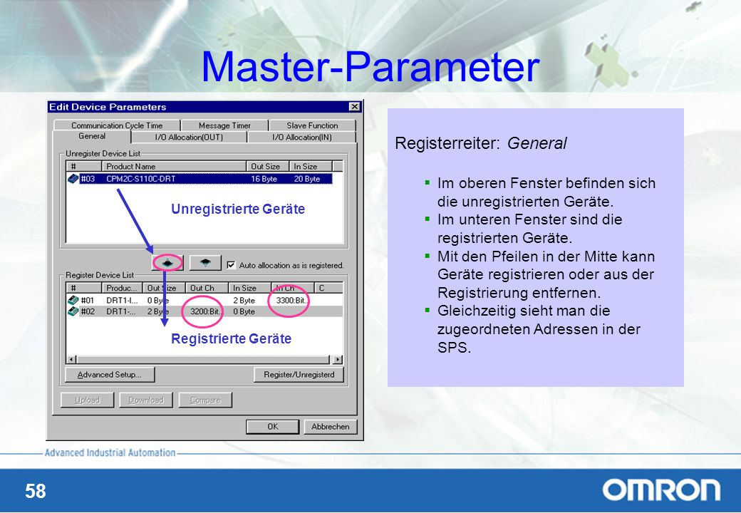 Master-Parameter Registerreiter: General