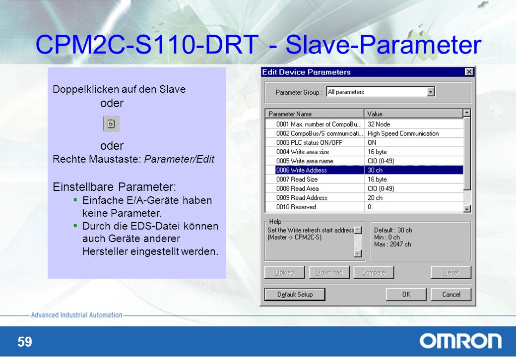 CPM2C-S110-DRT - Slave-Parameter