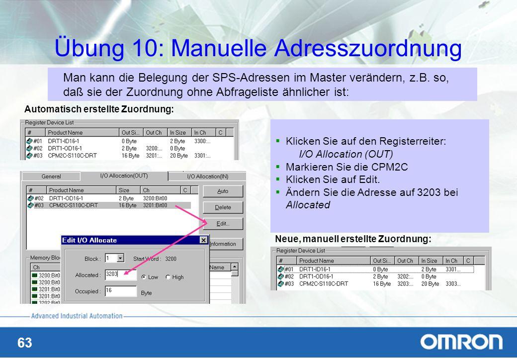 Übung 10: Manuelle Adresszuordnung