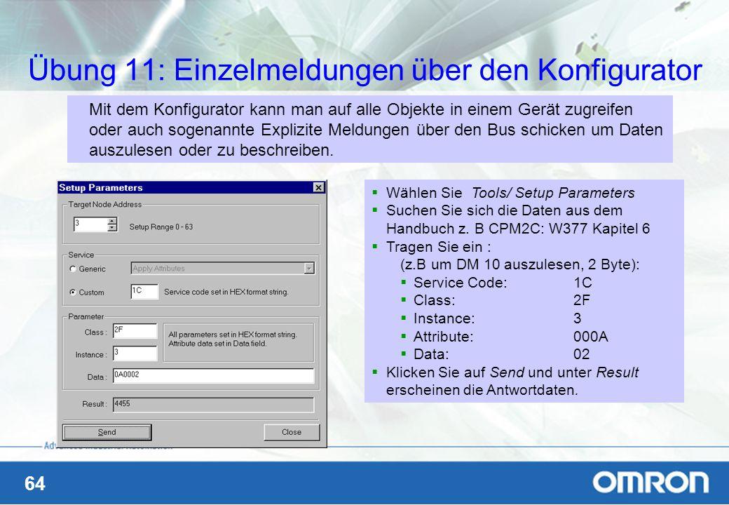 Übung 11: Einzelmeldungen über den Konfigurator