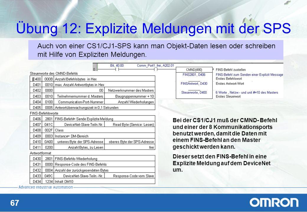 Übung 12: Explizite Meldungen mit der SPS