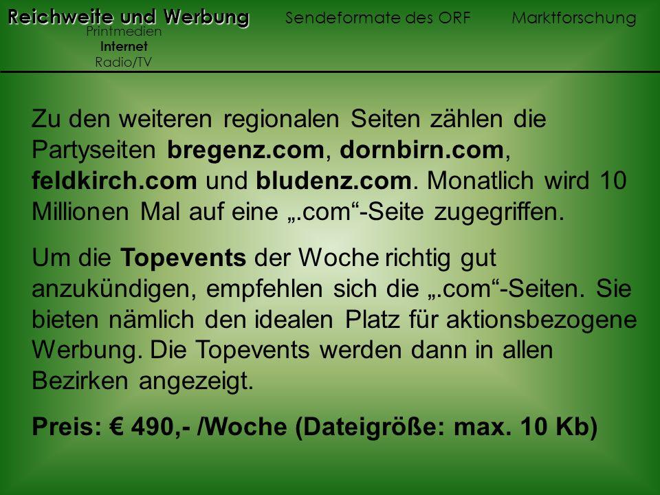 Preis: € 490,- /Woche (Dateigröße: max. 10 Kb)