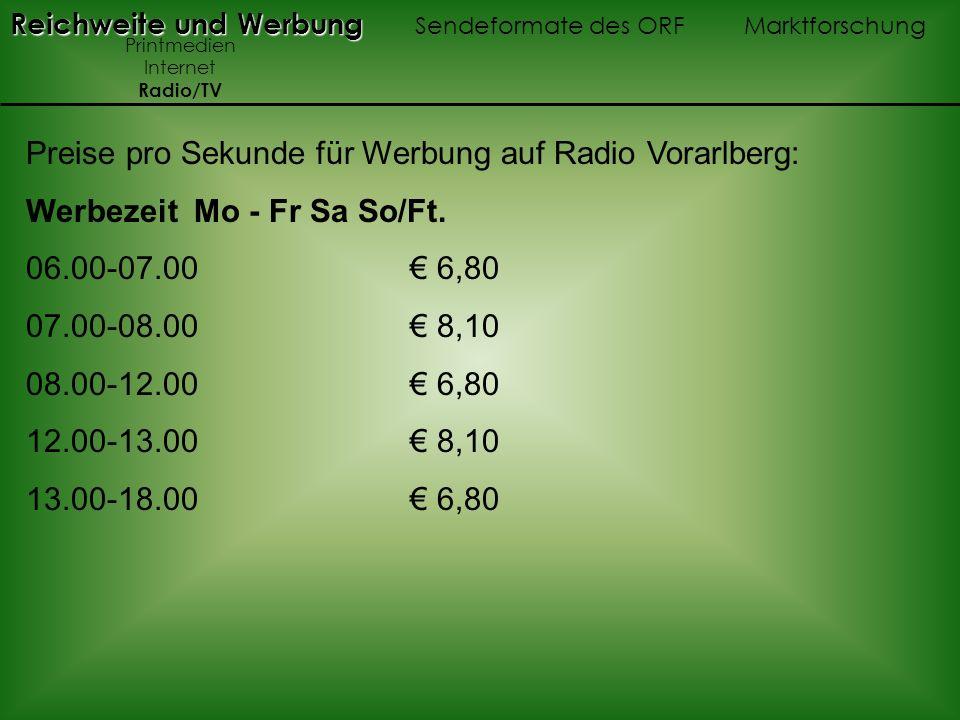 Preise pro Sekunde für Werbung auf Radio Vorarlberg: