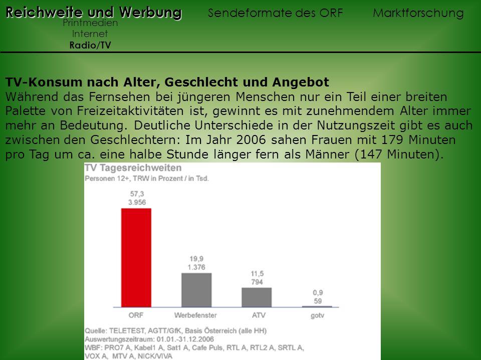 Reichweite und Werbung Sendeformate des ORF Marktforschung