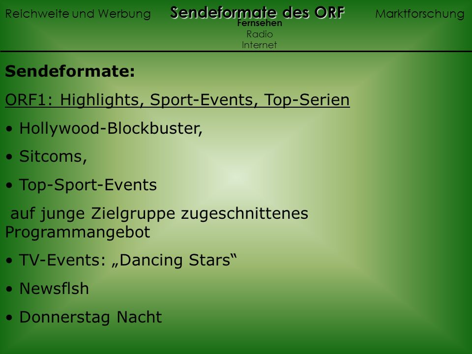 ORF1: Highlights, Sport-Events, Top-Serien Hollywood-Blockbuster,