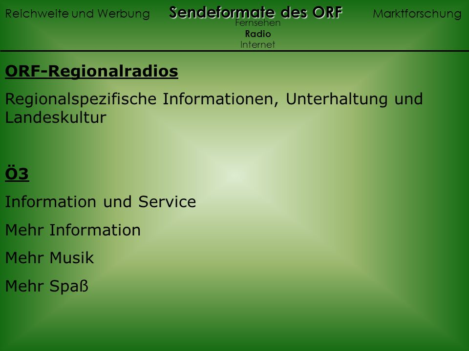 Regionalspezifische Informationen, Unterhaltung und Landeskultur