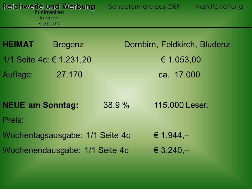 HEIMAT Bregenz Dornbirn, Feldkirch, Bludenz