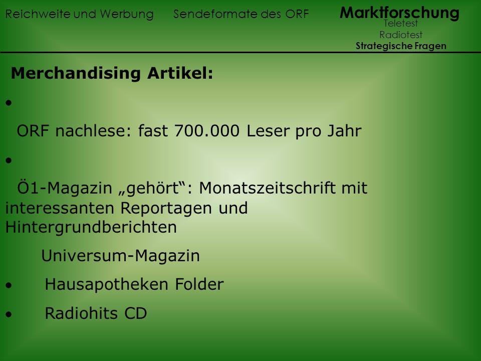 Merchandising Artikel: · ORF nachlese: fast 700.000 Leser pro Jahr