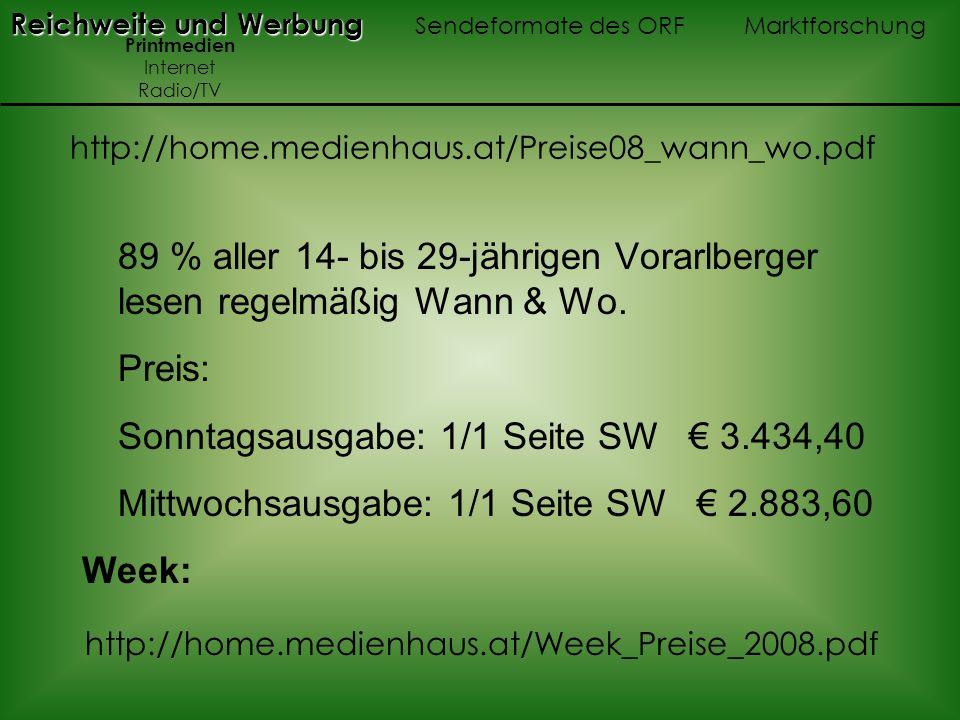 Sonntagsausgabe: 1/1 Seite SW € 3.434,40