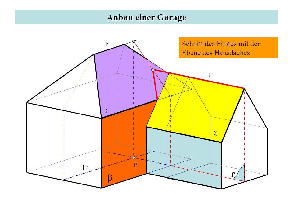 b Anbau einer Garage Schnitt des Firstes mit der Ebene des Hausdaches