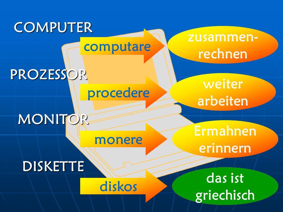 COMPUTER zusammen-rechnen. computare. PROZESSOR. weiter arbeiten. procedere. MONITOR. Ermahnen.