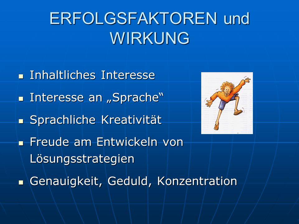 ERFOLGSFAKTOREN und WIRKUNG