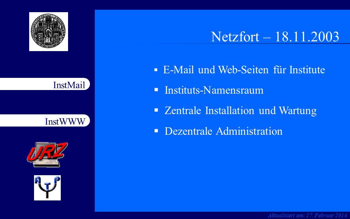 Netzfort – 18.11.2003 Instituts-Namensraum