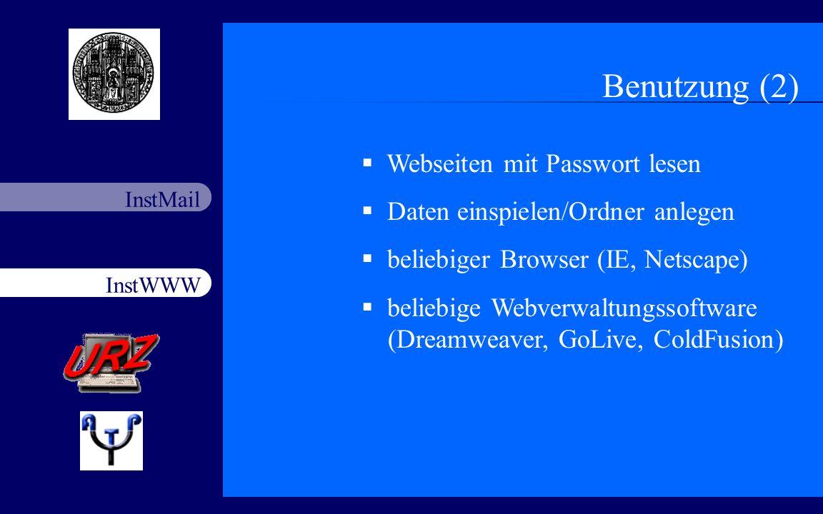 Benutzung (2) Webseiten mit Passwort lesen