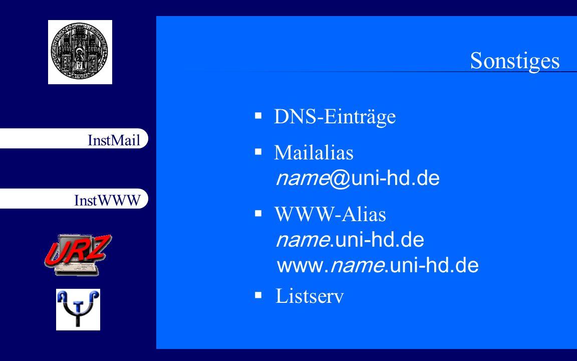 Sonstiges DNS-Einträge Mailalias name@uni-hd.de
