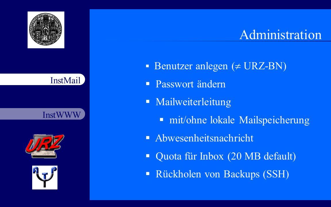 Administration Passwort ändern Mailweiterleitung