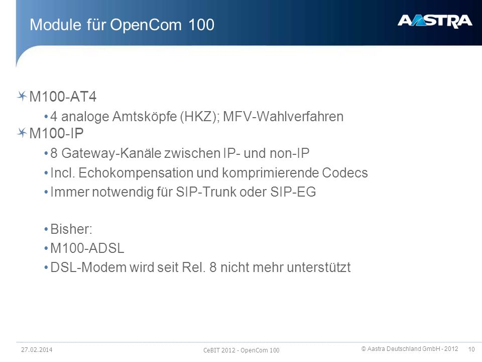 Module für OpenCom 100 M100-AT4 M100-IP