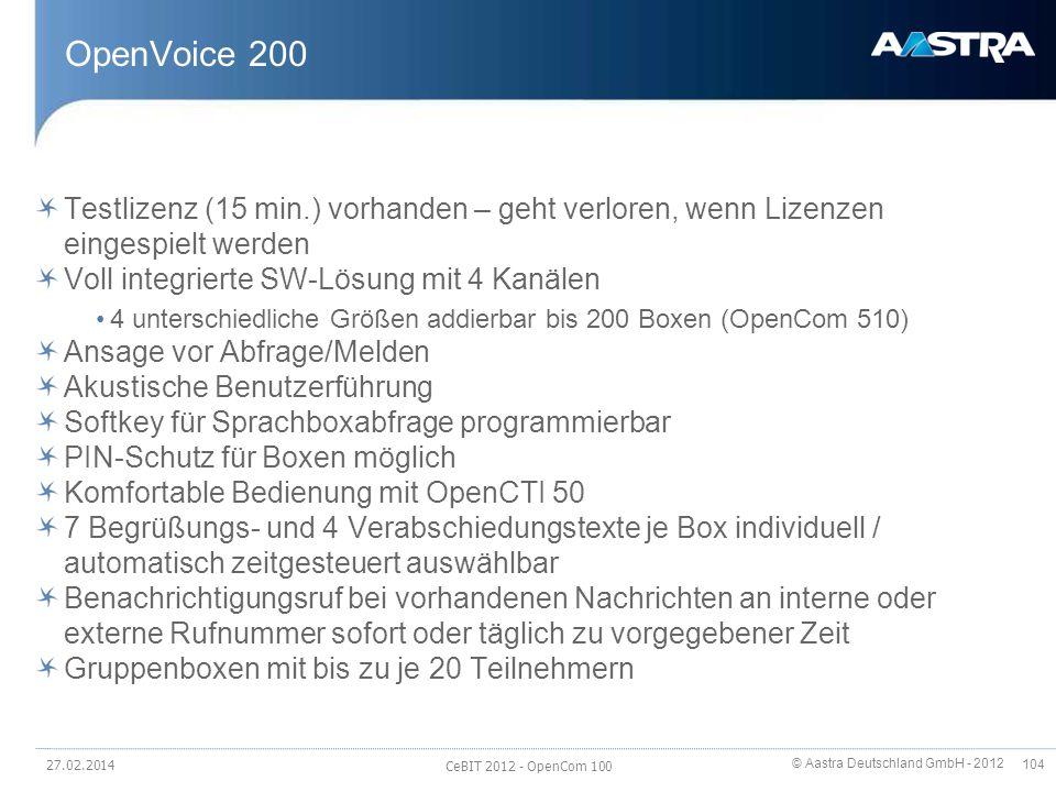 OpenVoice 200 Testlizenz (15 min.) vorhanden – geht verloren, wenn Lizenzen eingespielt werden. Voll integrierte SW-Lösung mit 4 Kanälen.