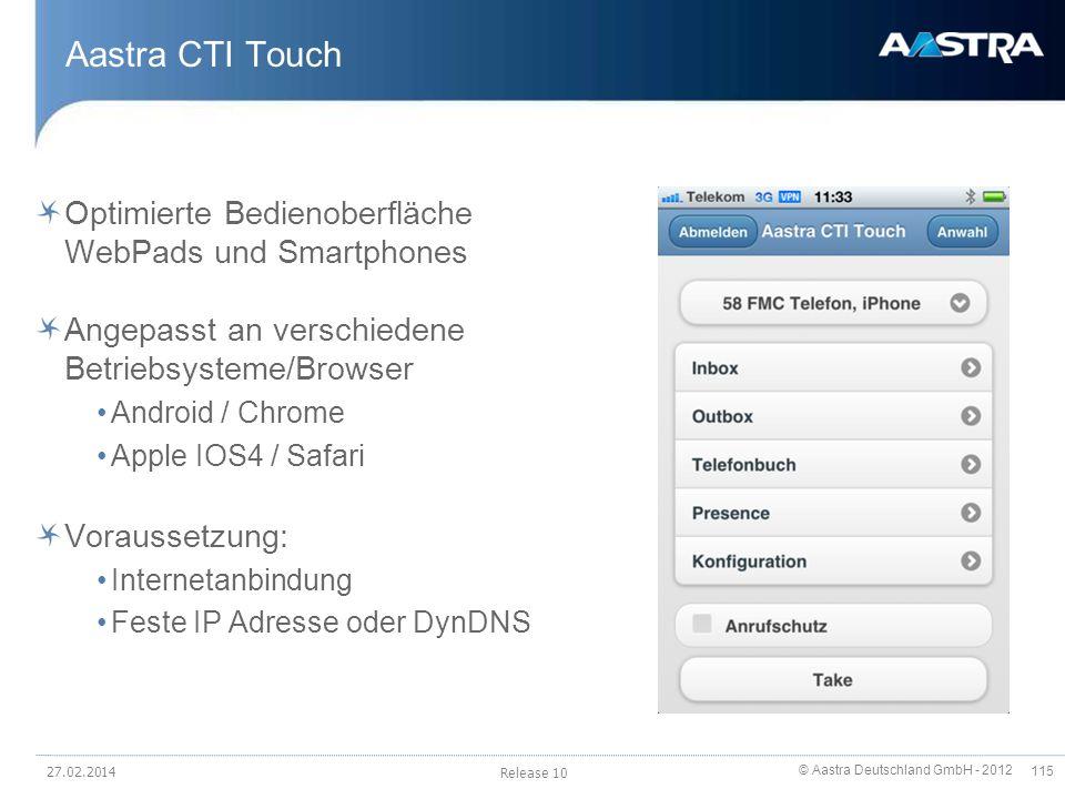 Aastra CTI Touch Optimierte Bedienoberfläche WebPads und Smartphones
