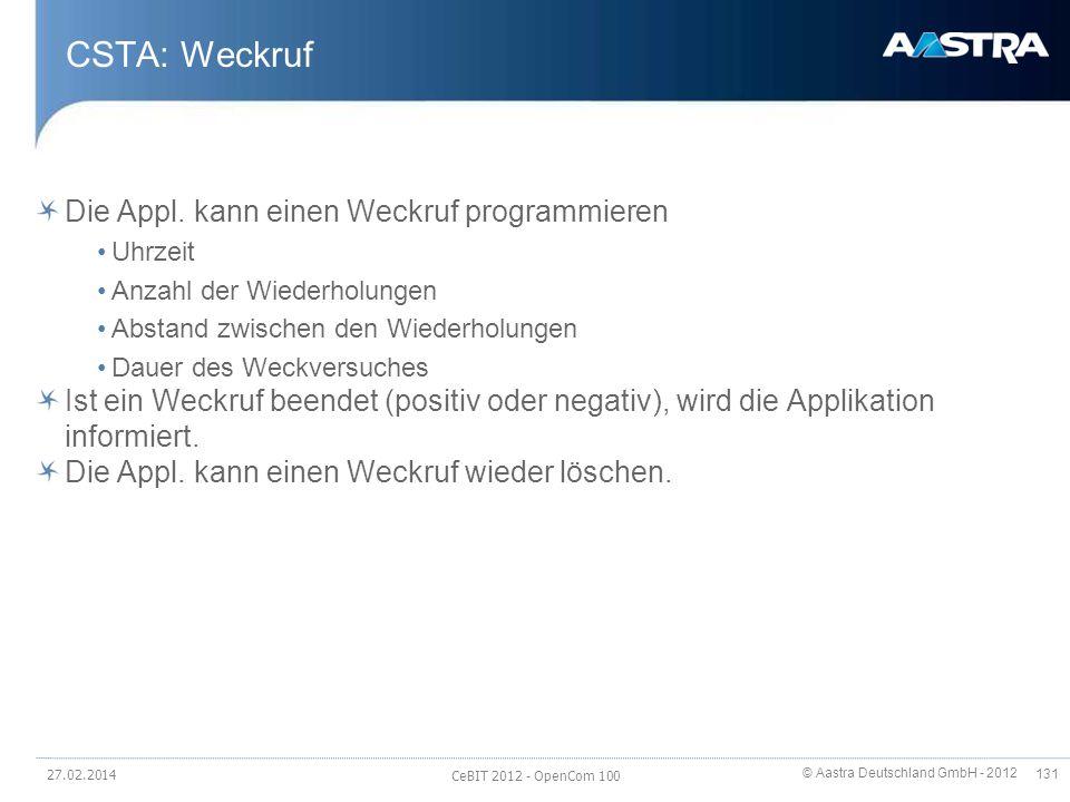 CSTA: Weckruf Die Appl. kann einen Weckruf programmieren