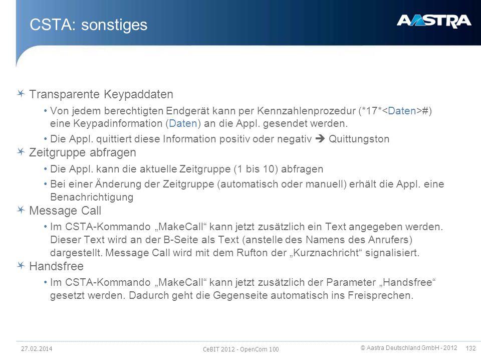 CSTA: sonstiges Transparente Keypaddaten Zeitgruppe abfragen