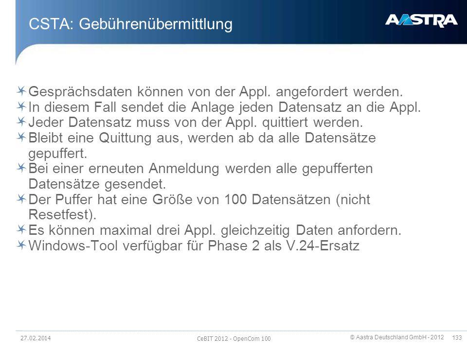 CSTA: Gebührenübermittlung