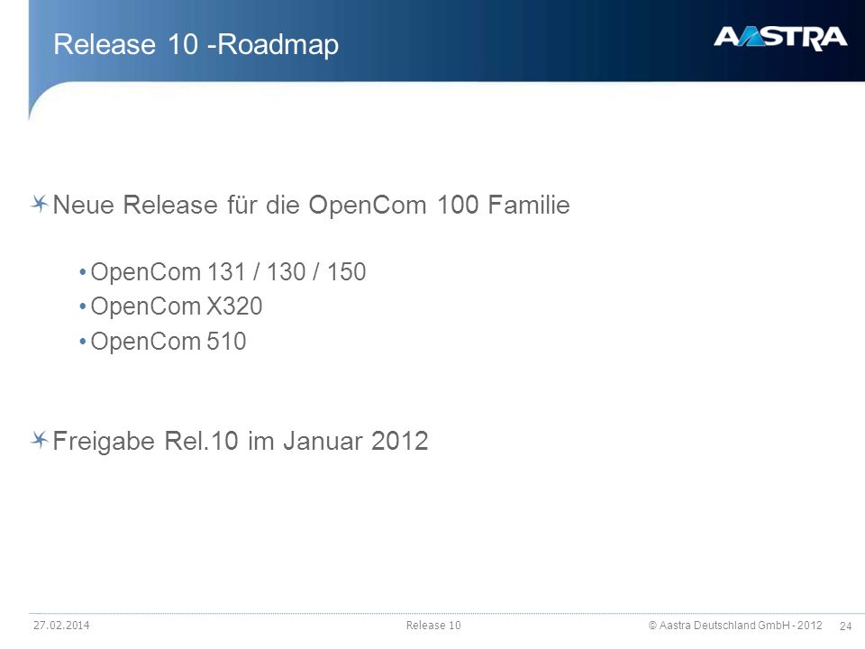 Release 10 -Roadmap Neue Release für die OpenCom 100 Familie