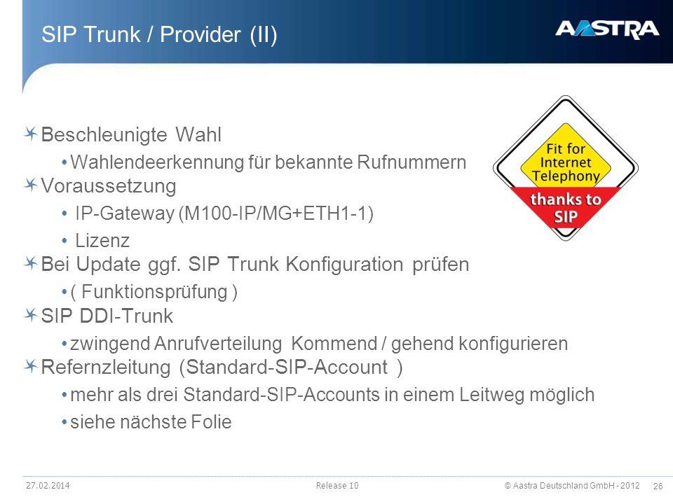 SIP Trunk / Provider (II)