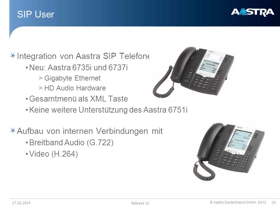 SIP User Integration von Aastra SIP Telefonen